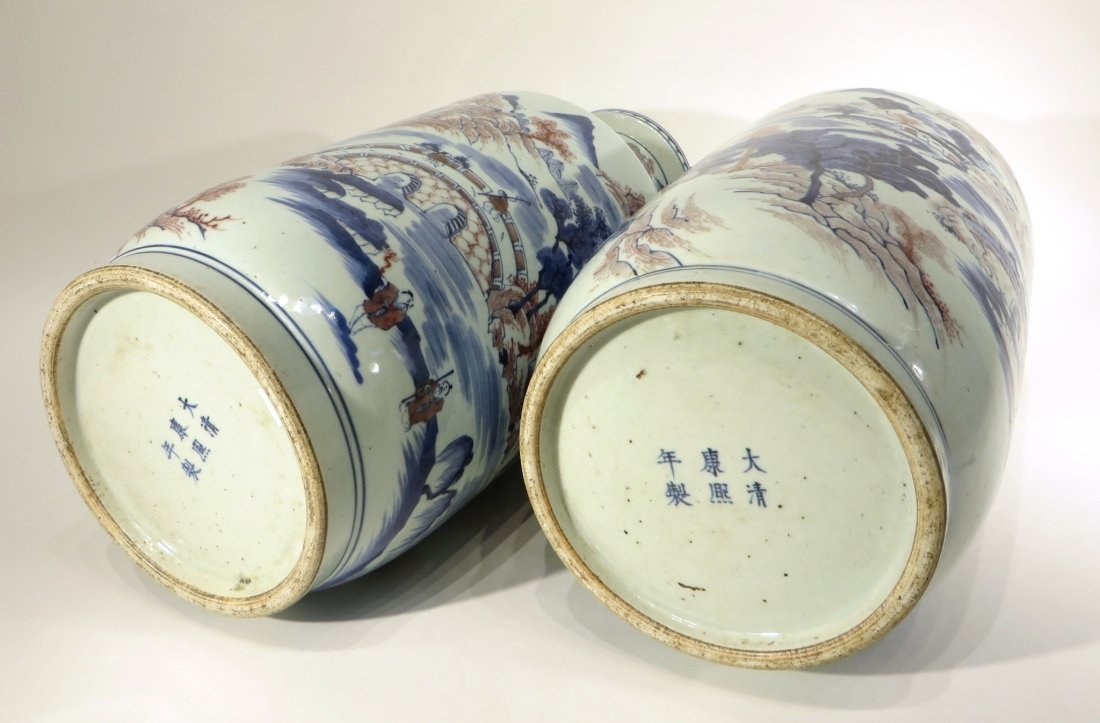 PAIR OF KANG XI MARKED BLUE AND RED VASES - 8