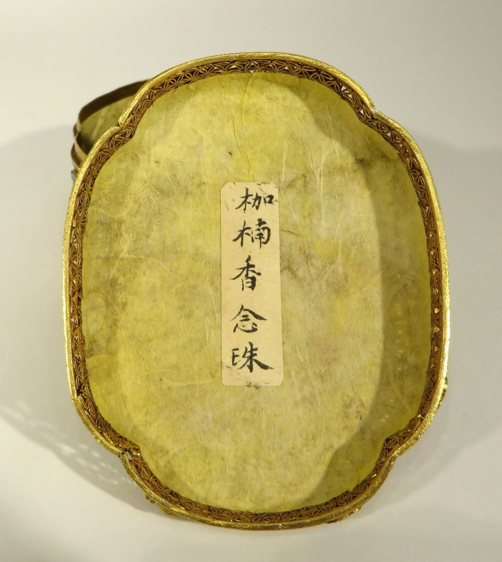 CHINESE CHEN XIANG NECKLACE IN GILT SILVER BOX - 10