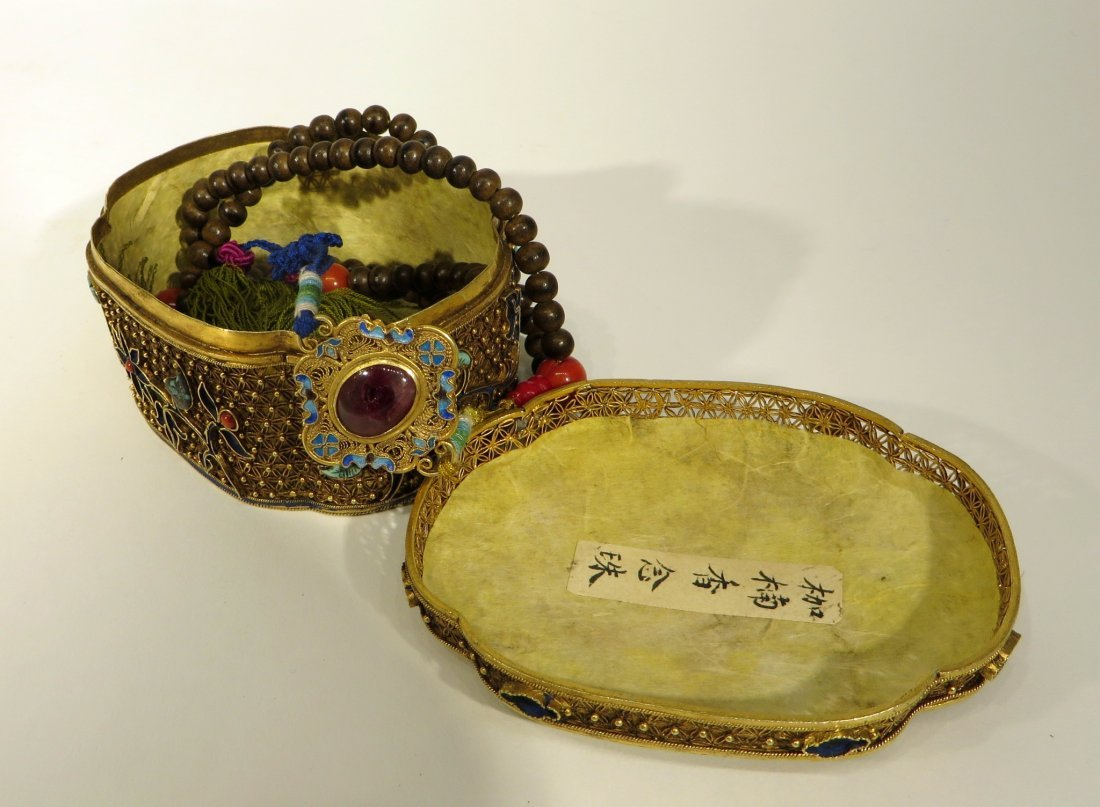 CHINESE CHEN XIANG NECKLACE IN GILT SILVER BOX - 9