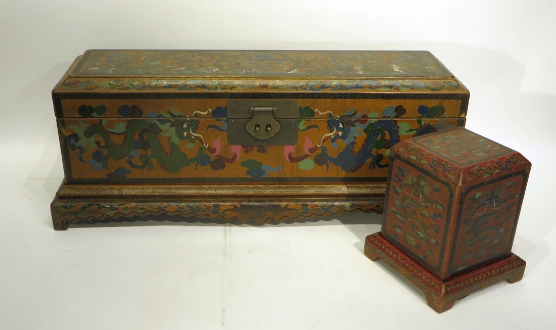 CHINESE LACQUER PAINTED DRAGON CHEST ON STAND - 10