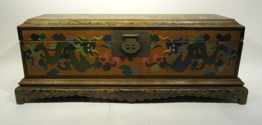 CHINESE LACQUER PAINTED DRAGON CHEST ON STAND