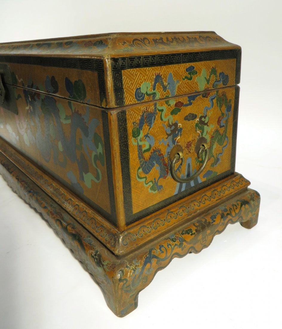 CHINESE LACQUER PAINTED DRAGON CHEST ON STAND - 2