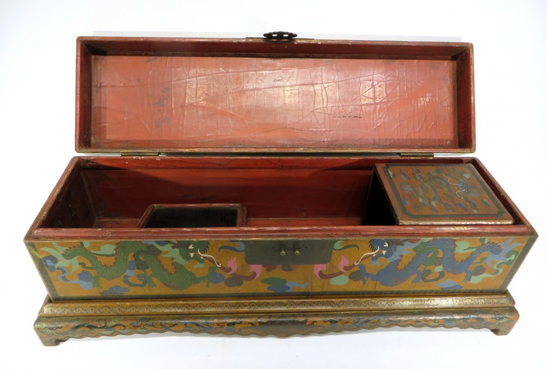 CHINESE LACQUER PAINTED DRAGON CHEST ON STAND - 3