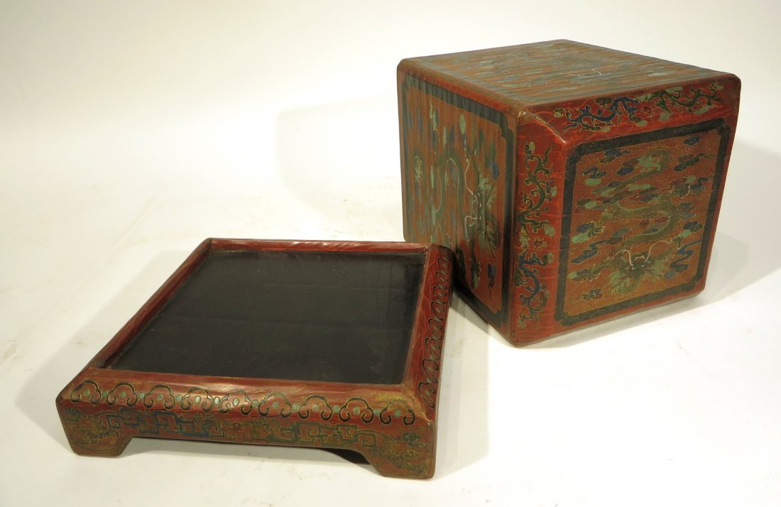 CHINESE LACQUER PAINTED DRAGON CHEST ON STAND - 4