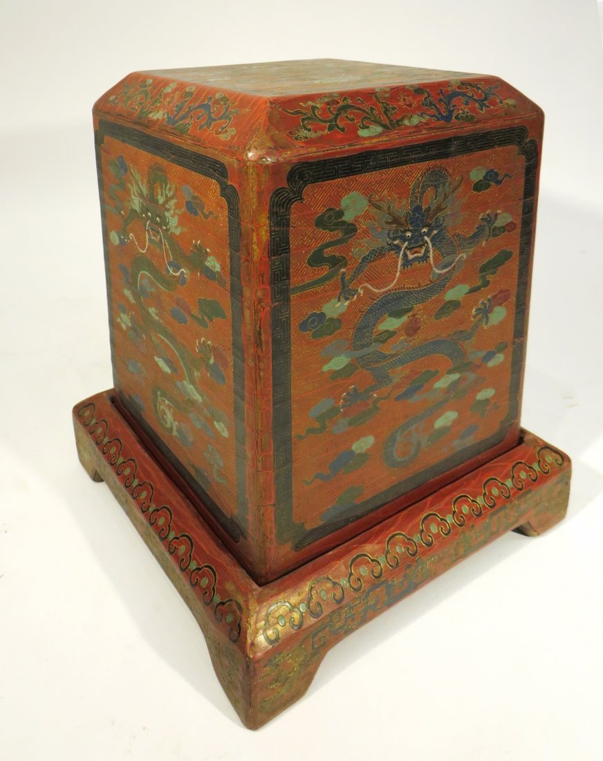 CHINESE LACQUER PAINTED DRAGON CHEST ON STAND - 5