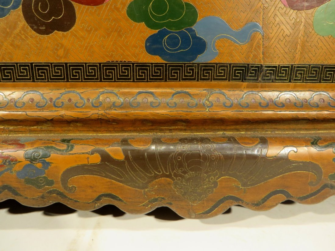 CHINESE LACQUER PAINTED DRAGON CHEST ON STAND - 6