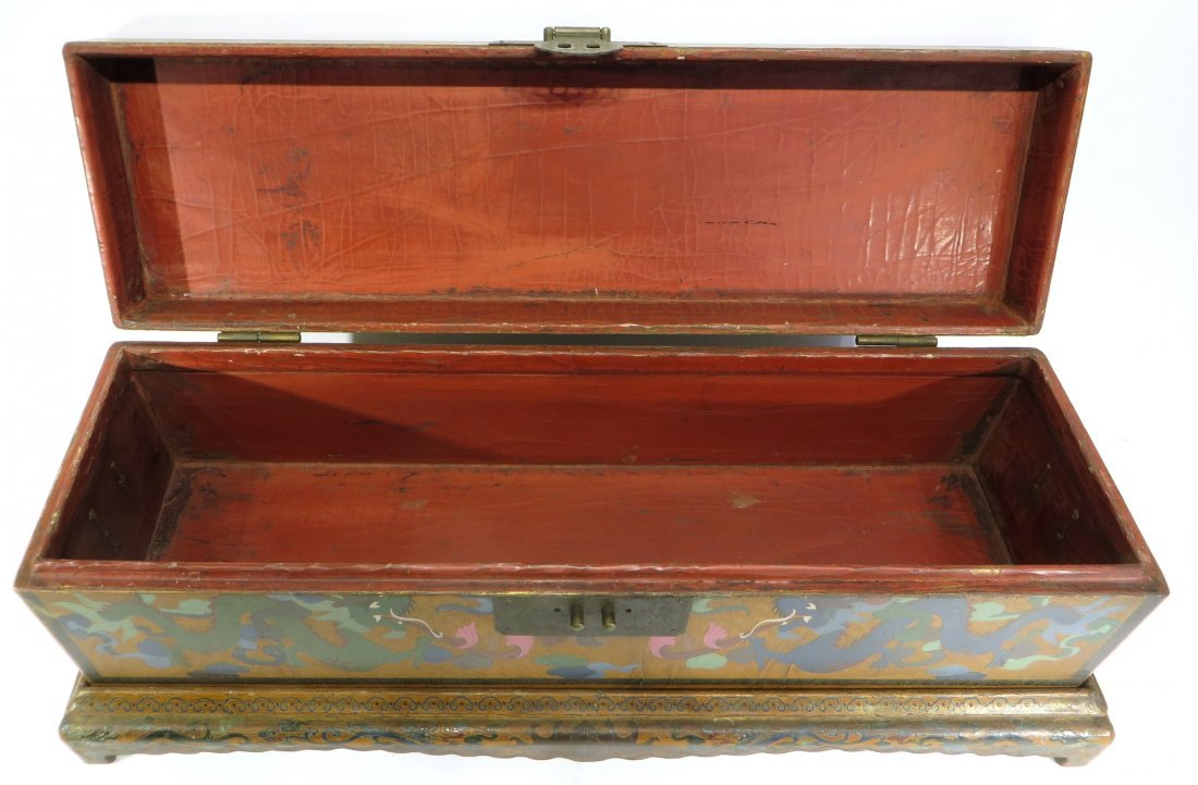 CHINESE LACQUER PAINTED DRAGON CHEST ON STAND - 7