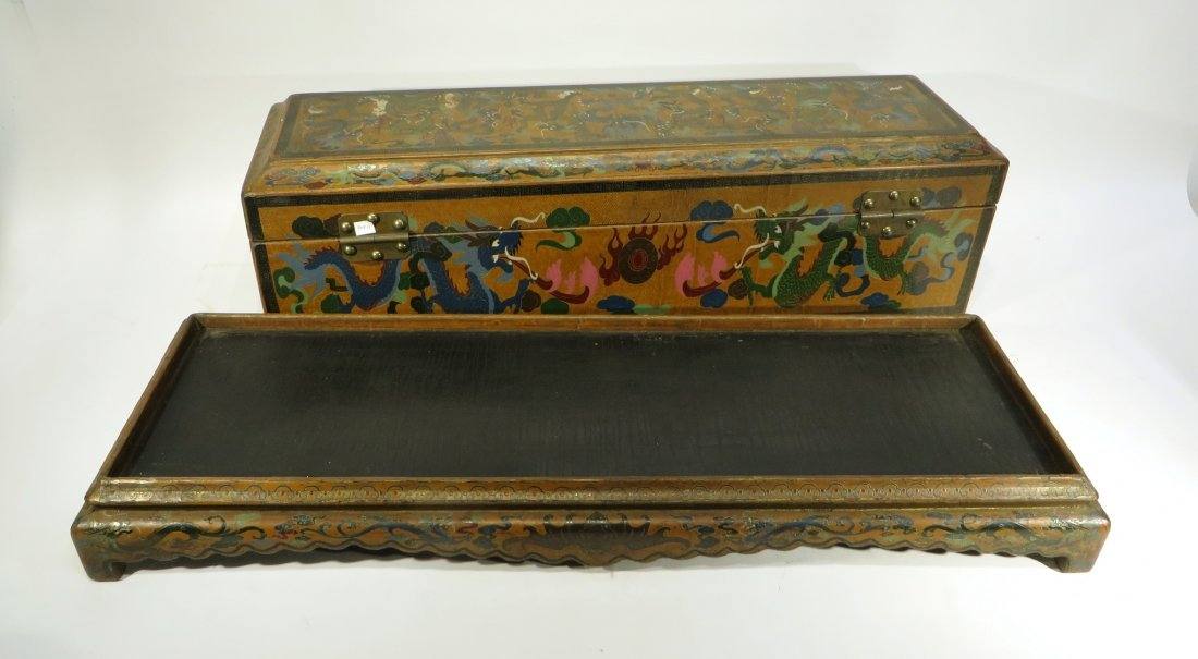 CHINESE LACQUER PAINTED DRAGON CHEST ON STAND - 8