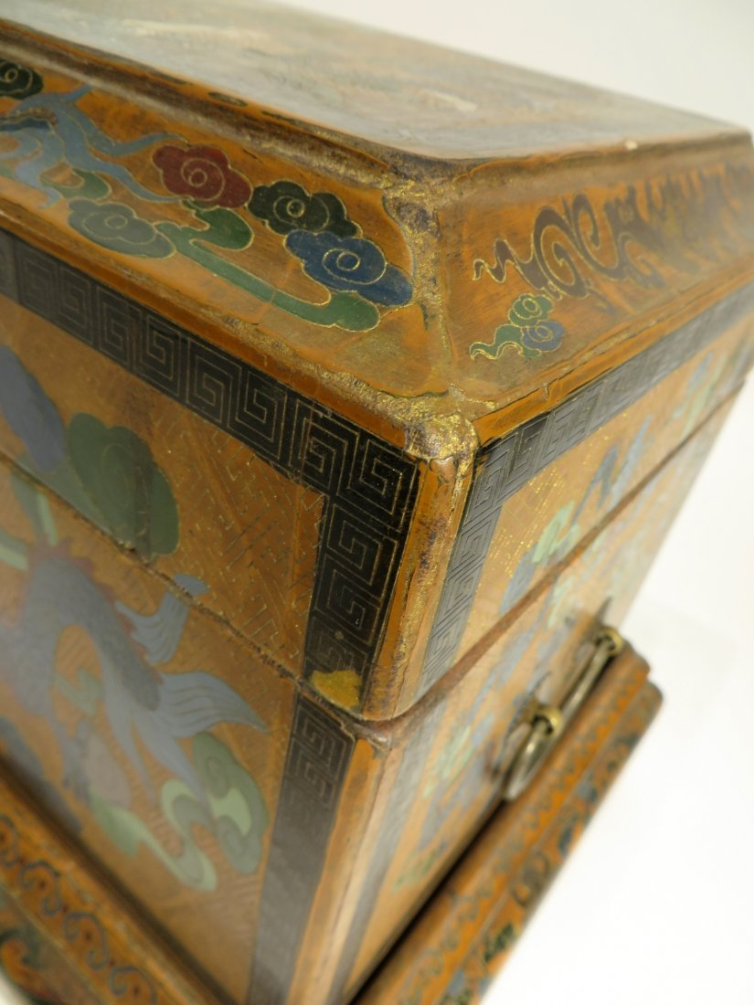 CHINESE LACQUER PAINTED DRAGON CHEST ON STAND - 9