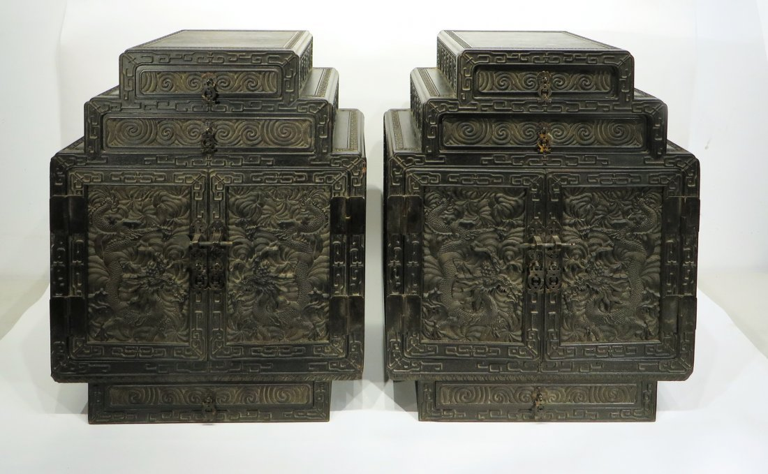 PAIR OF ZITAN STACKING CABINETS
