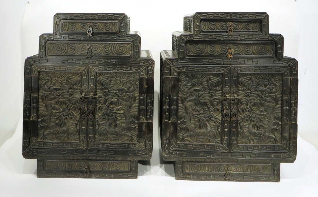 PAIR OF ZITAN STACKING CABINETS - 2