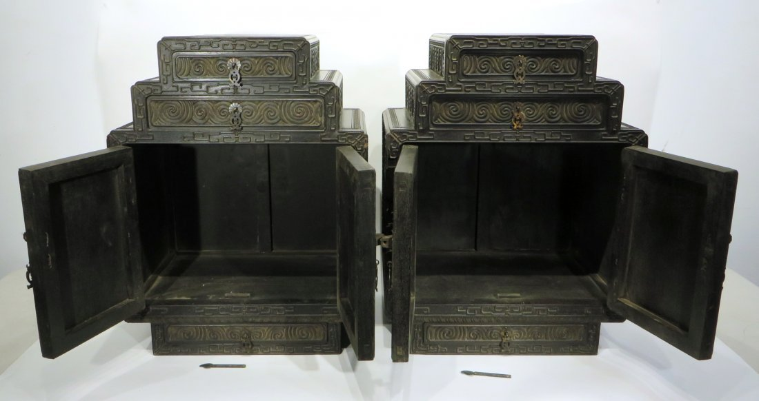PAIR OF ZITAN STACKING CABINETS - 7