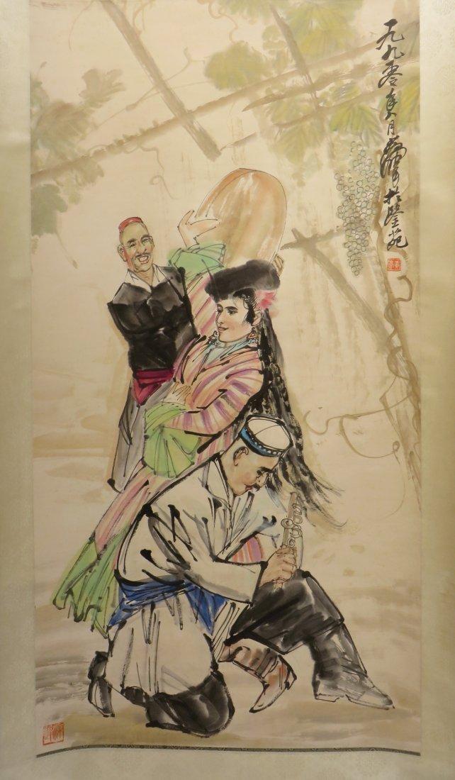 SCROLL OF DANCER SIGNED HUANG ZHOU (1925-1997)