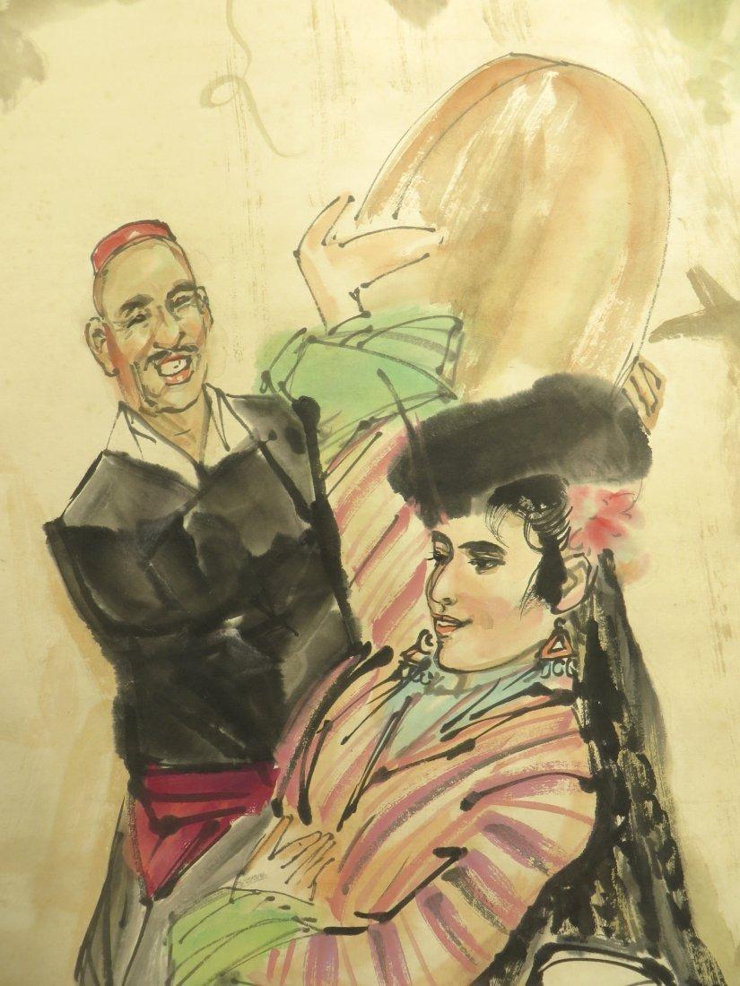 SCROLL OF DANCER SIGNED HUANG ZHOU (1925-1997) - 2