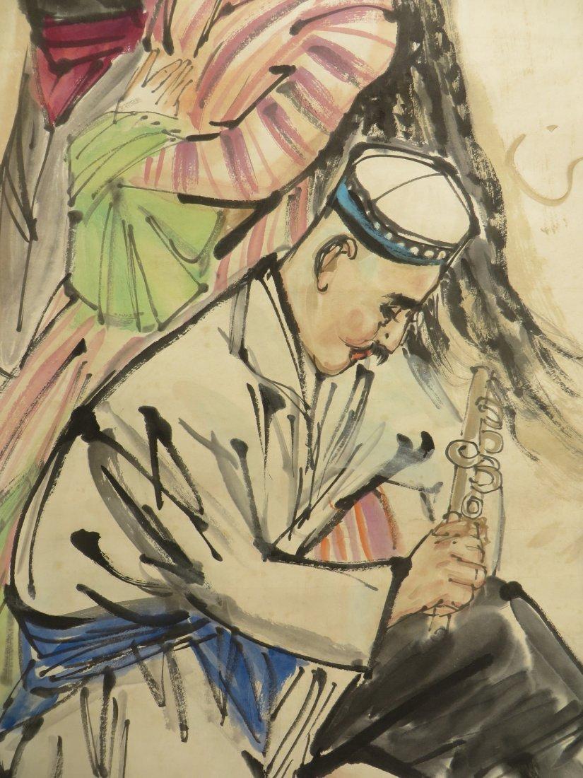 SCROLL OF DANCER SIGNED HUANG ZHOU (1925-1997) - 3