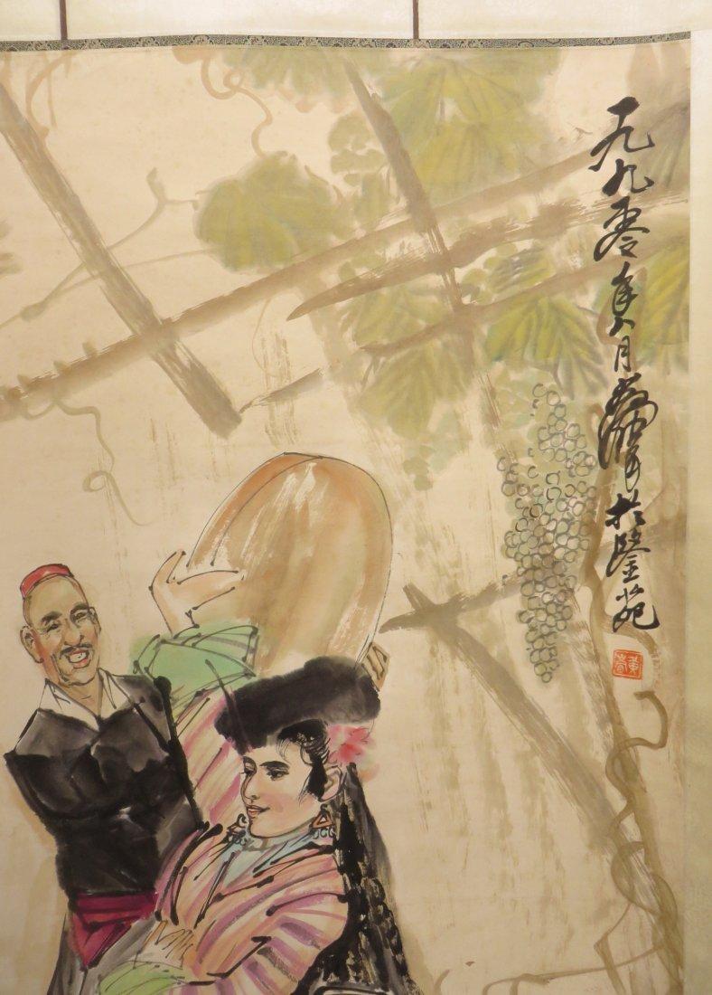 SCROLL OF DANCER SIGNED HUANG ZHOU (1925-1997) - 4
