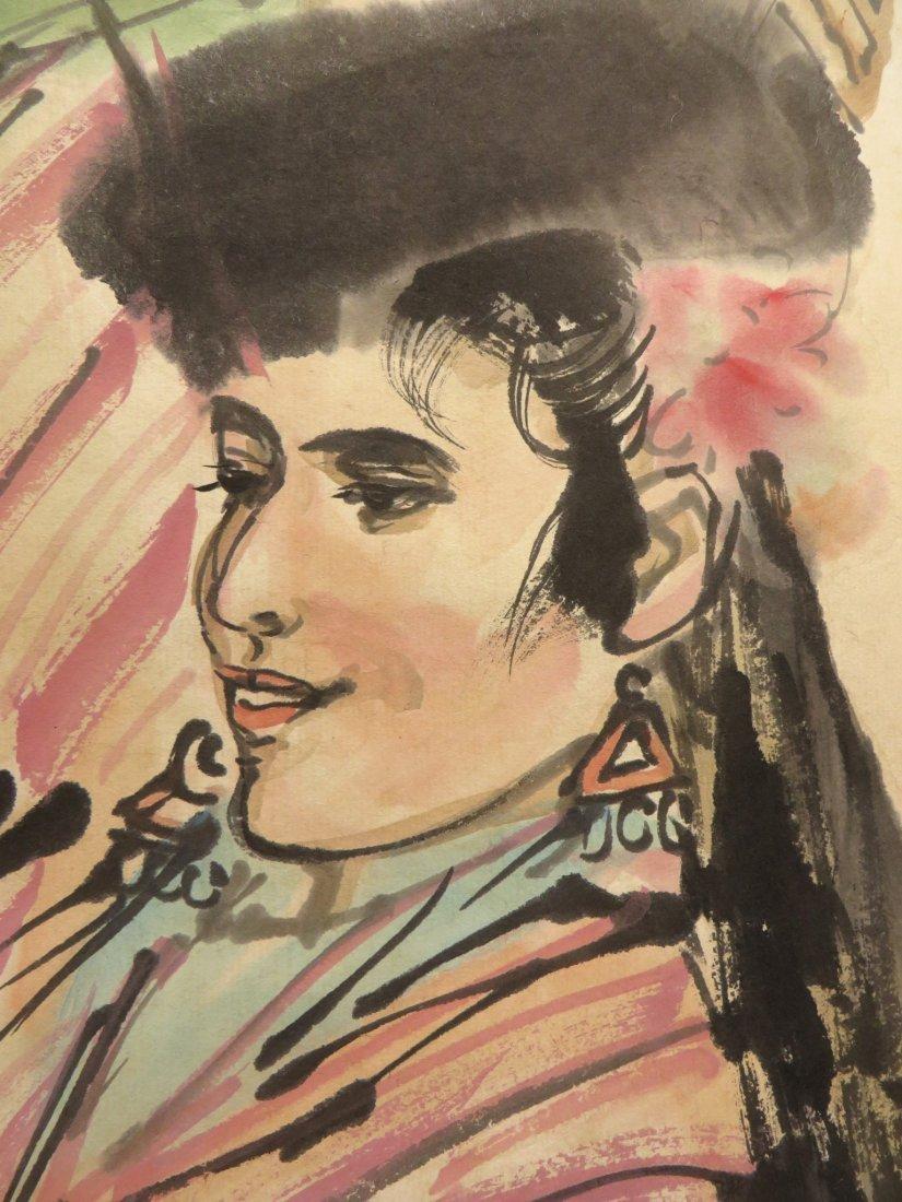 SCROLL OF DANCER SIGNED HUANG ZHOU (1925-1997) - 6
