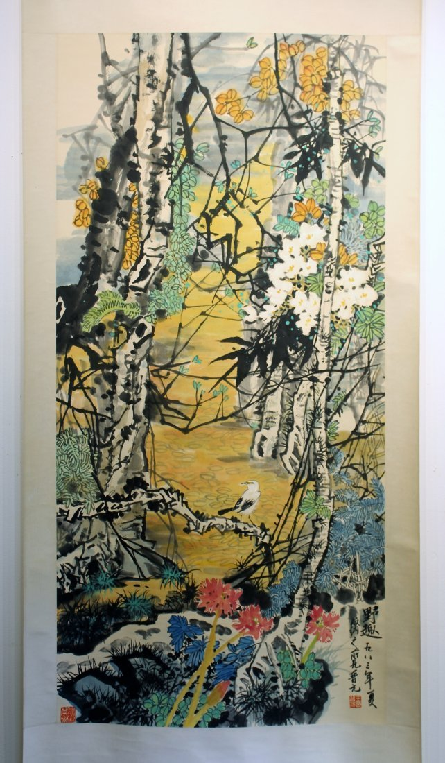 BRIGHT FOREST SCENE BY JIN YUAN (1945-)