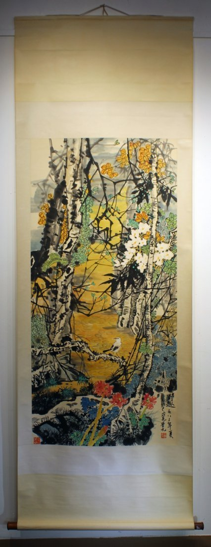 BRIGHT FOREST SCENE BY JIN YUAN (1945-) - 2