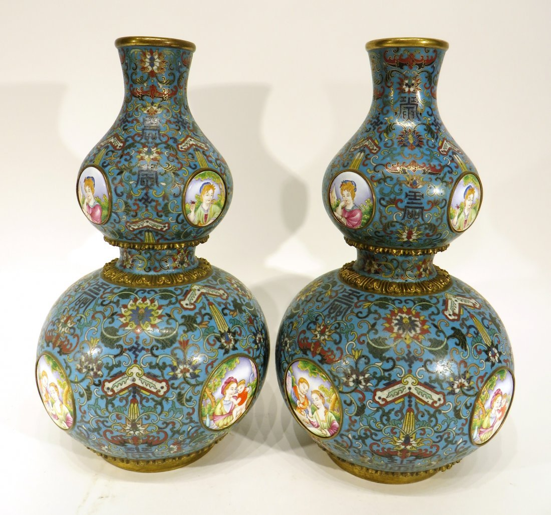 PAIR OF CLOISONNE DOUBLE GOURD VASES