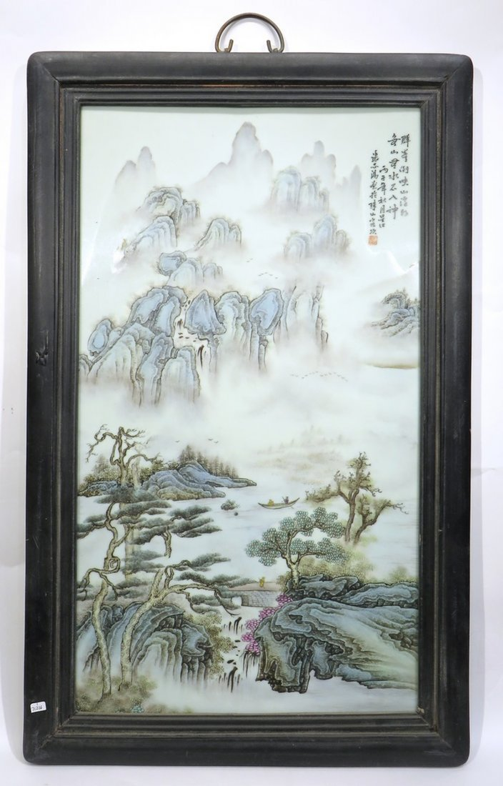 CHINESE 20TH C FAMILLE VERTE PORCELAIN PLAQUE