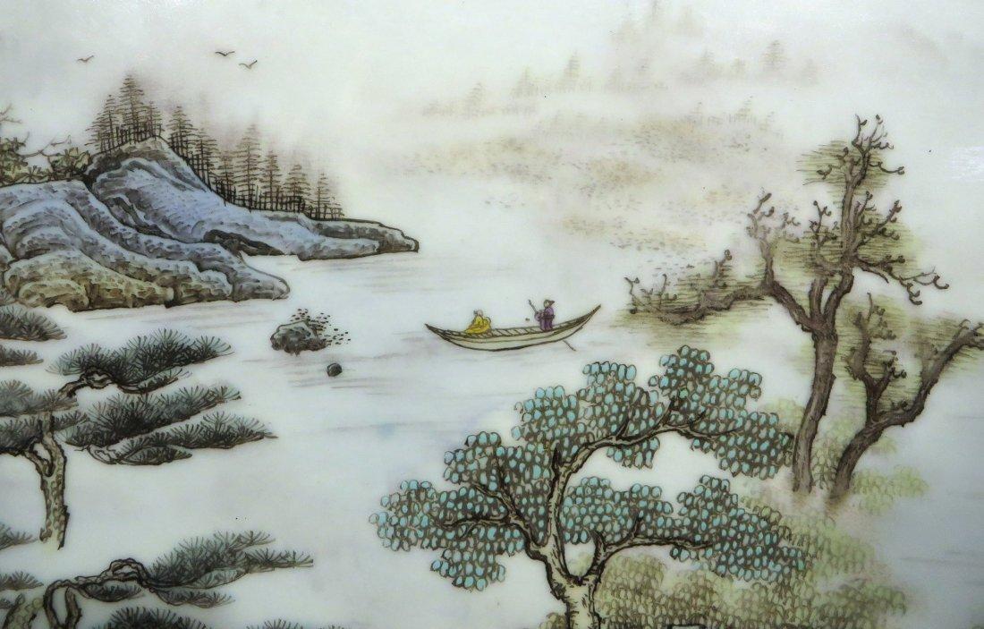 CHINESE 20TH C FAMILLE VERTE PORCELAIN PLAQUE - 3