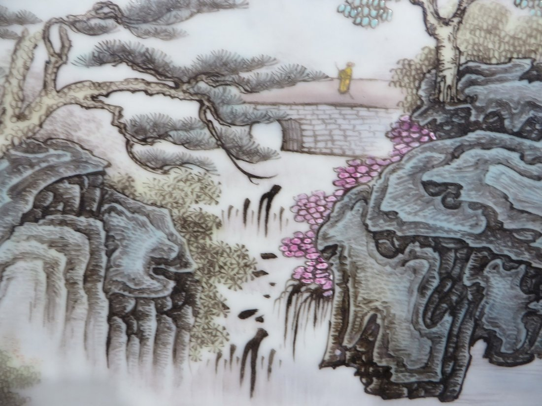 CHINESE 20TH C FAMILLE VERTE PORCELAIN PLAQUE - 5