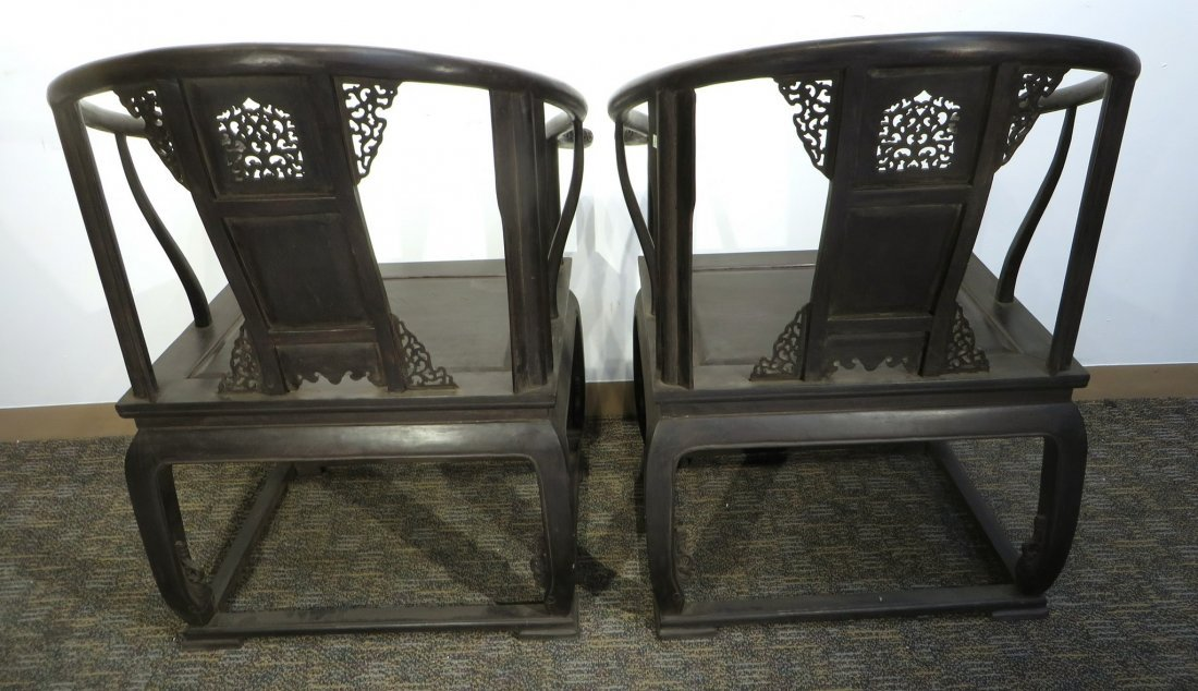 A PAIR OF ZITAN HORSESHOE CHAIRS - 5