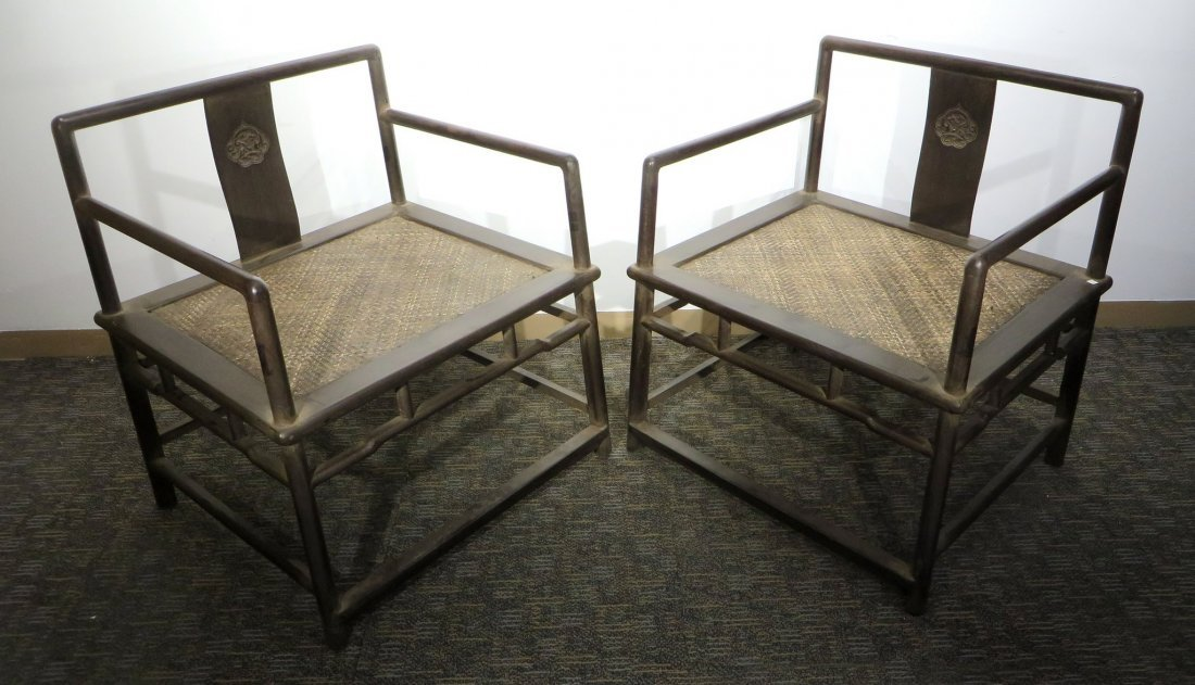 PAIR OF ZITAN BUDDHA CHAIRS