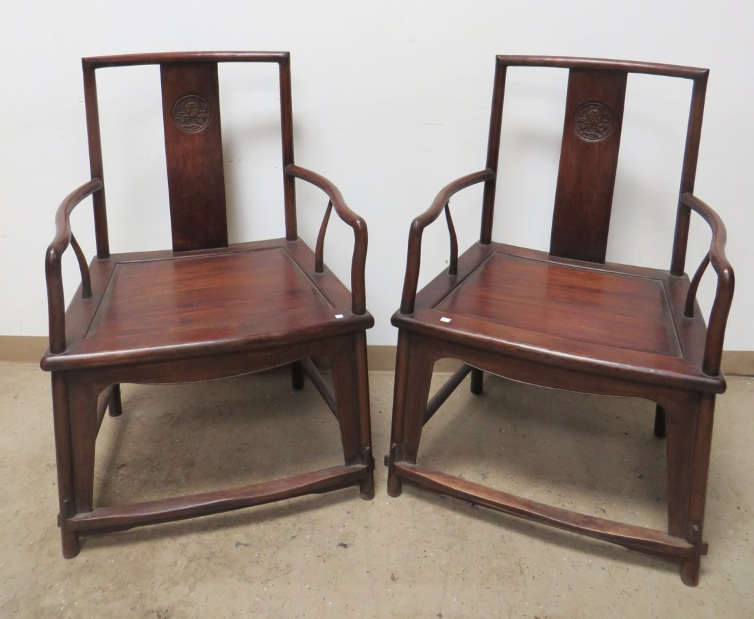 PAIR OF CHINESE HUANGHUALI CHAIRS - 2