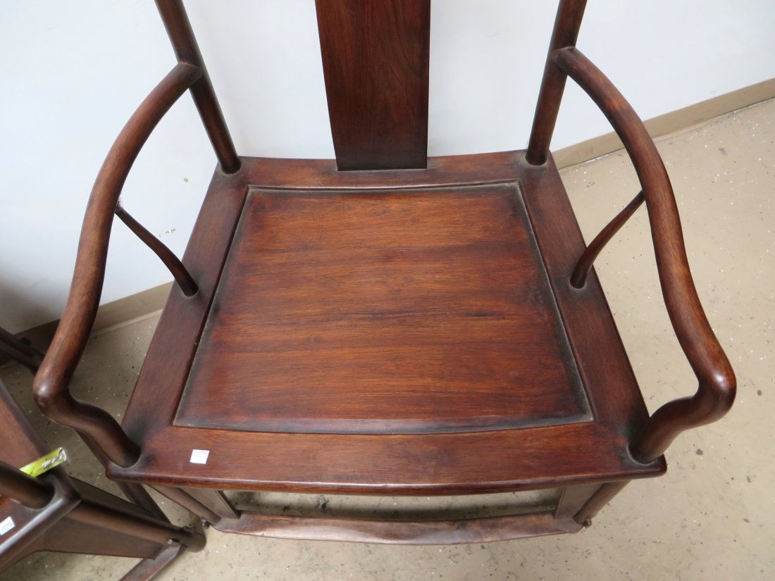 PAIR OF CHINESE HUANGHUALI CHAIRS - 4
