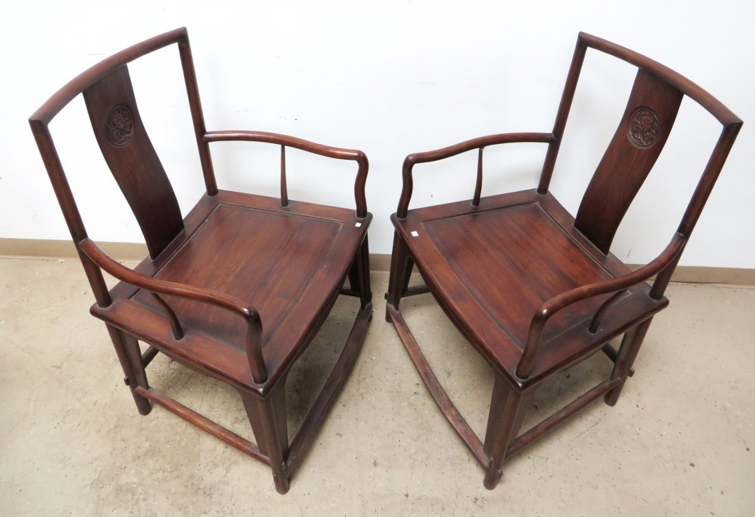 PAIR OF CHINESE HUANGHUALI CHAIRS - 8