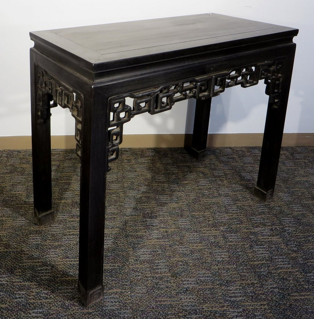 CHINESE CARVED ZITAN TABLE - 2