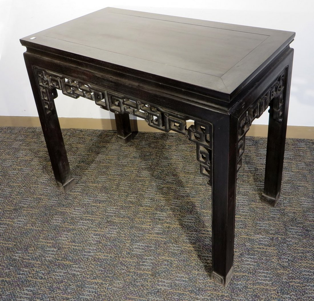 CHINESE CARVED ZITAN TABLE - 4
