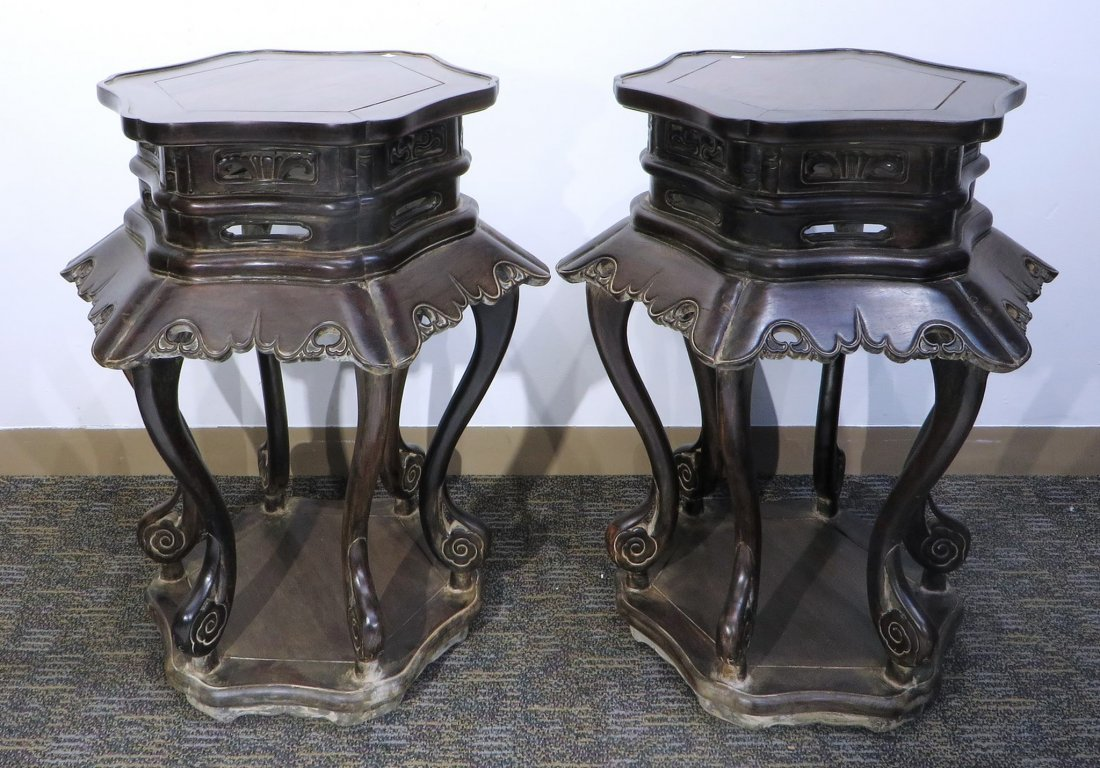 PAIR OF ZITAN STANDS