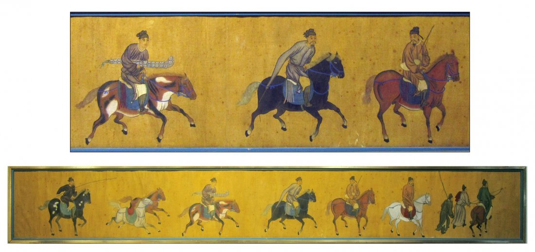 ANTIQUE CHINESE HORSE & RIDER PAINTING