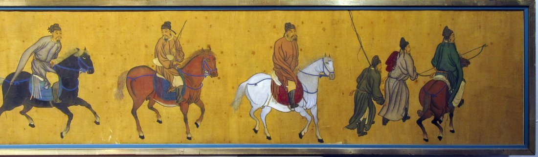 ANTIQUE CHINESE HORSE & RIDER PAINTING - 3