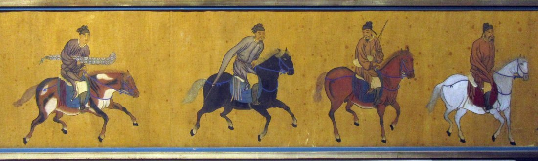 ANTIQUE CHINESE HORSE & RIDER PAINTING - 4