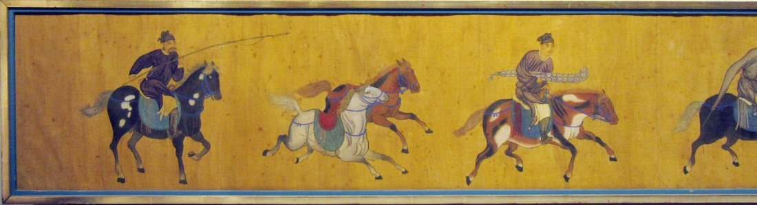 ANTIQUE CHINESE HORSE & RIDER PAINTING - 5