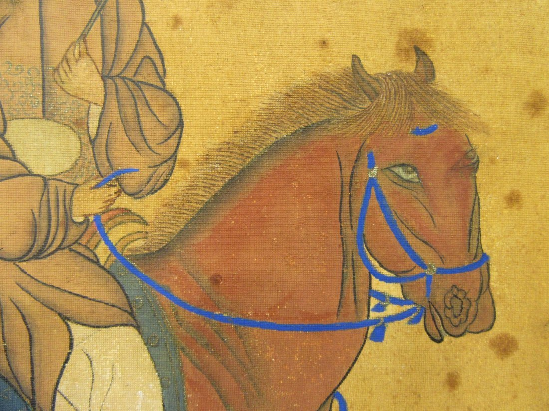 ANTIQUE CHINESE HORSE & RIDER PAINTING - 6