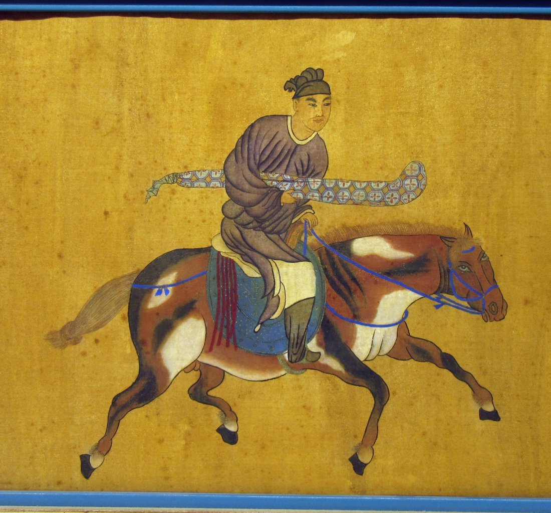ANTIQUE CHINESE HORSE & RIDER PAINTING - 7