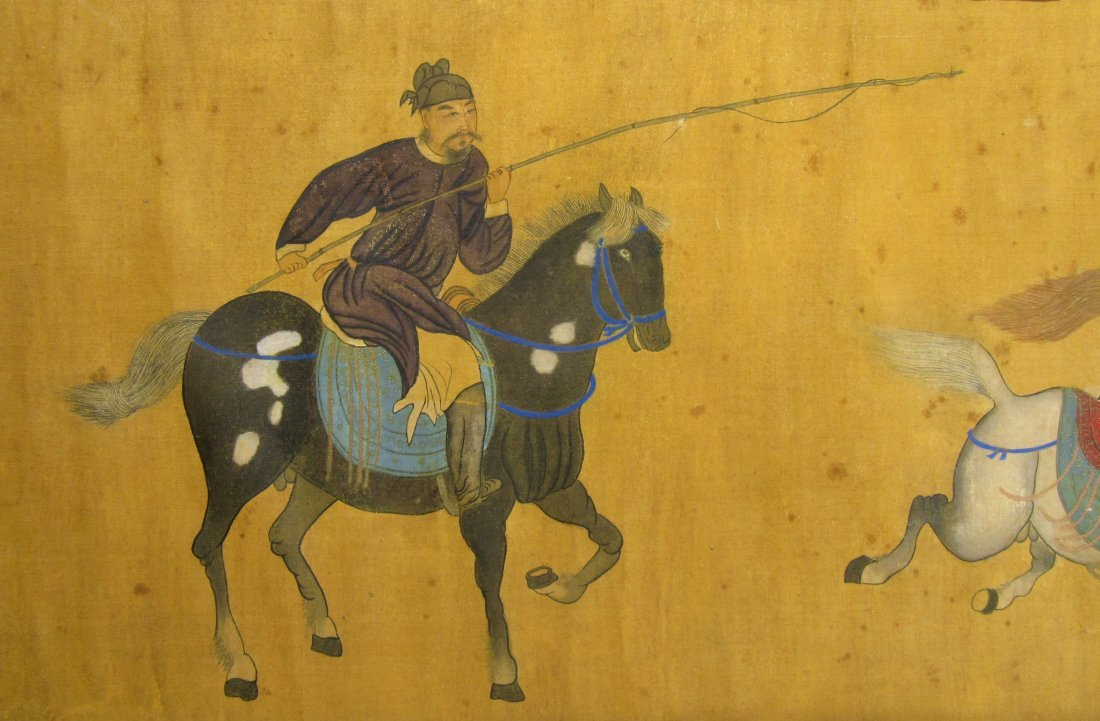 ANTIQUE CHINESE HORSE & RIDER PAINTING - 8