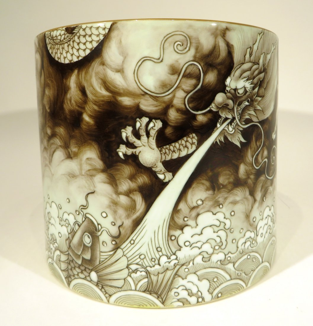 YONG ZHENG MARKED BROWN INK BRUSH POT - 2
