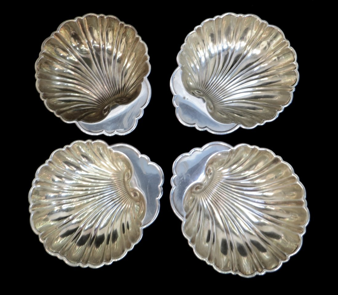 FOUR GORHAM SHELL SHAPED STERLING NUT BOWLS