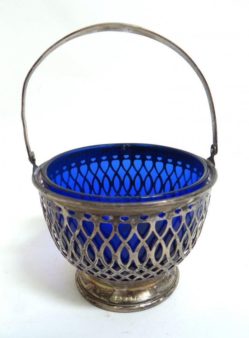 ELEGANT STERLING & COBALT GLASS COMPOTE BASKET