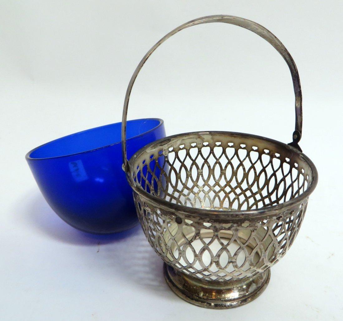 ELEGANT STERLING & COBALT GLASS COMPOTE BASKET - 2