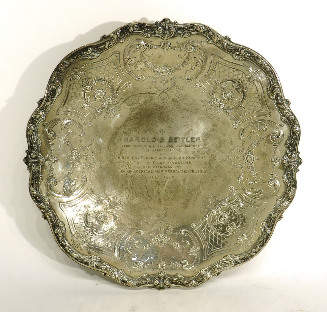 STERLING SILVER PRESENTATION PLAQUE DATED 1924