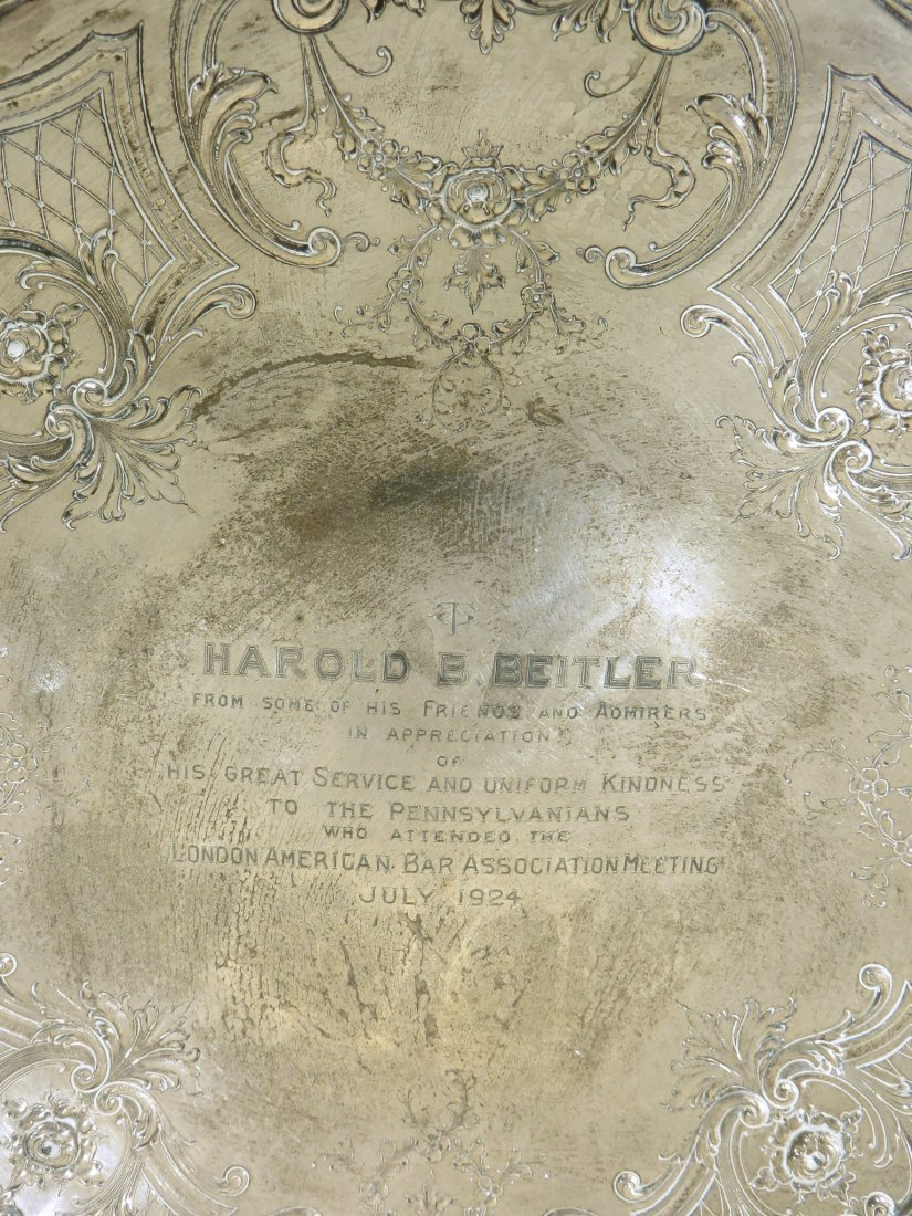 STERLING SILVER PRESENTATION PLAQUE DATED 1924 - 2