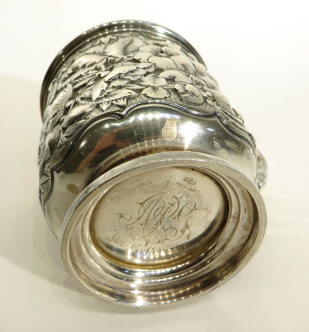 STERLING SILVER REPOSSE CUP - 4