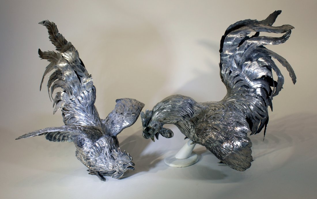 PAIR OF CONTINENTAL 19TH C. SILVER FIGHTING COCKS - 6
